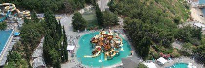 вид на детский бассейн с горками в Ялте Интурист