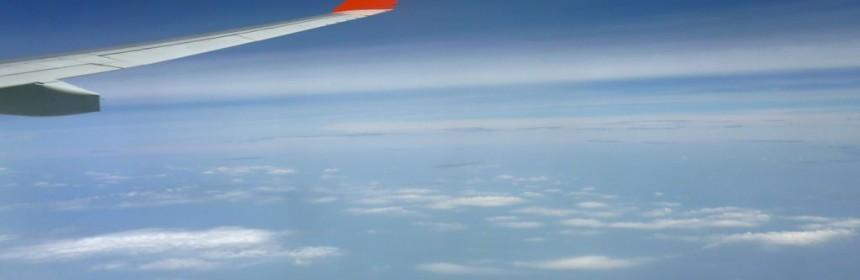 вид из элюминатора самолета на рейсе Владивосток Москва