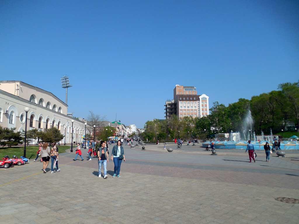 Вид на стадион Динамо и улицу Адмирала Фокина во Владивостоке